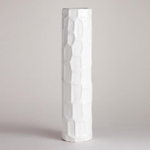 White Ceramic Tall Cylinder Vase