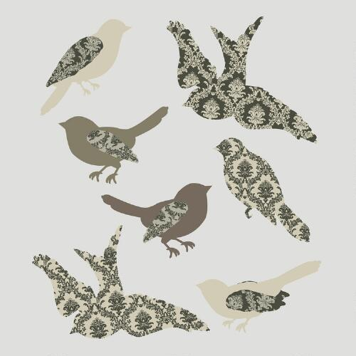 Metallic Birds Vinyl Wall Decal