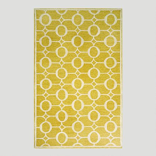 Yellow Arabesque Indoor-Outdoor Rug