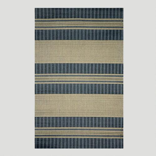 Blue Textured Stripe Indoor-Outdoor Rug