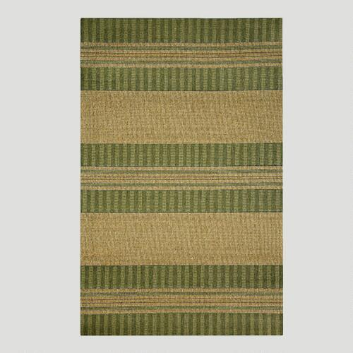 Green Textured Stripe Indoor-Outdoor Rug