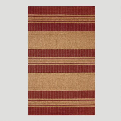 Red Textured Stripe Indoor-Outdoor Rug