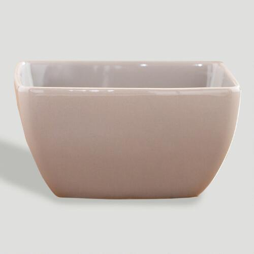 Taupe Coupe Square Bowl, Set of 2