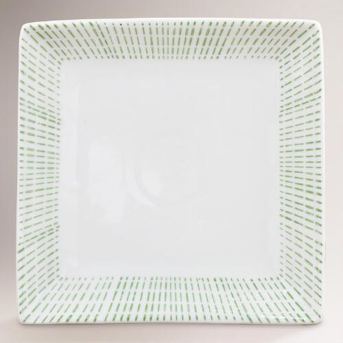 Green Bamboo Square Plate, Set of 2