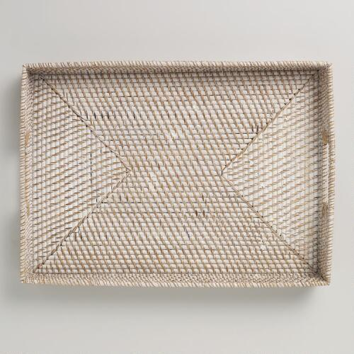 Whitewash Rattan Rectangular Tray