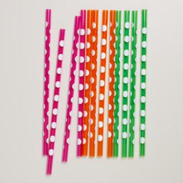 Polka Dot Straws, Sets of 2