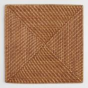 Square Rattan Chargers, Set of 4