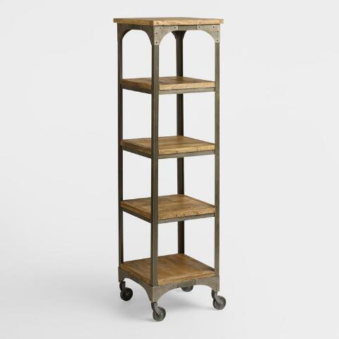 Wood and metal aiden tag re world market for Dining room etagere