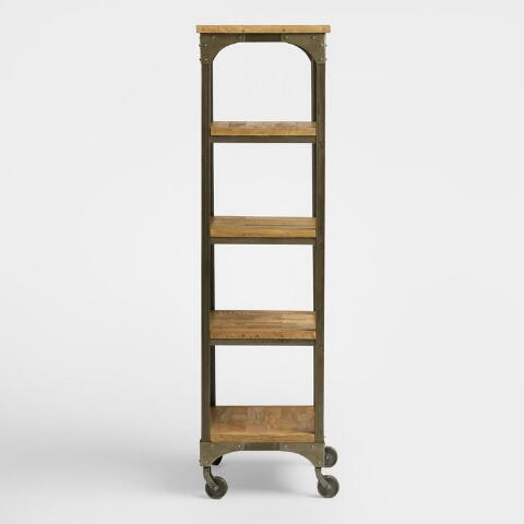 Wood and metal aiden tag re world market - Montant etagere metal ...