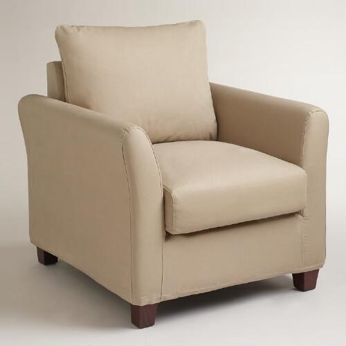 Khaki Luxe Chair Slipcover