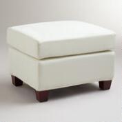 Ivory Luxe Ottoman Slipcover