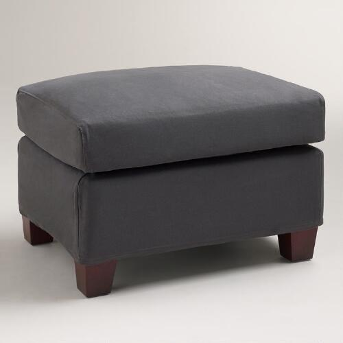 Charcoal Luxe Ottoman Slipcover