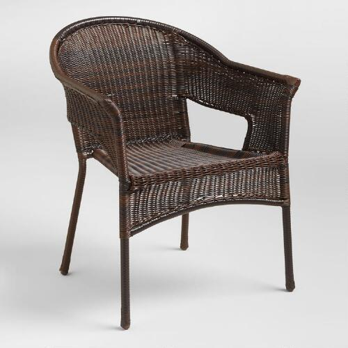 Espresso All-Weather Wicker Tub Chair
