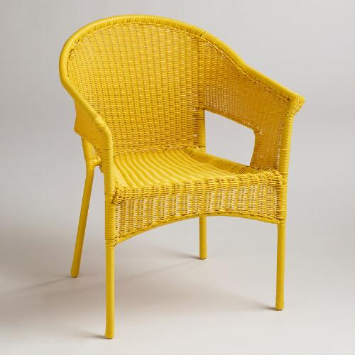 Yellow All-Weather Wicker Tub-Chair