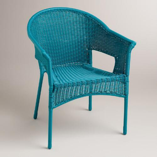 Blue All-Weather Wicker Tub Chair