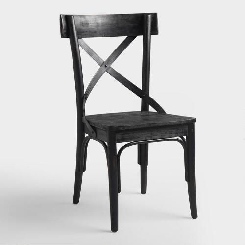 Black French Bistro Side Chairs, Set of 2