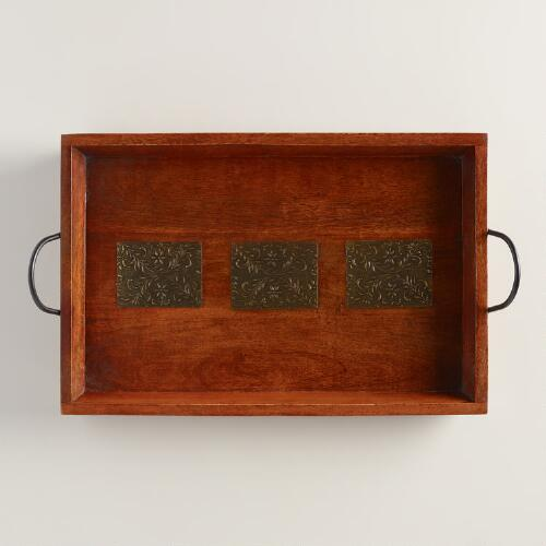 Rectangular Wood and Metal Embossed Tray