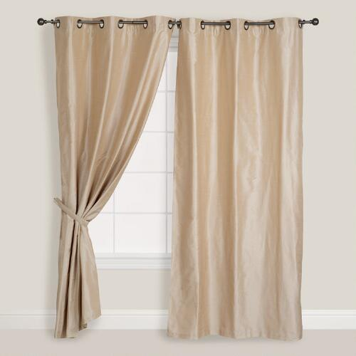 Champagne Dupioni Grommet Top Curtain