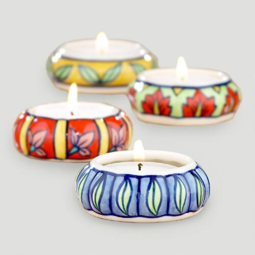 Ceramic Painted Tealight Holders, Set of 4
