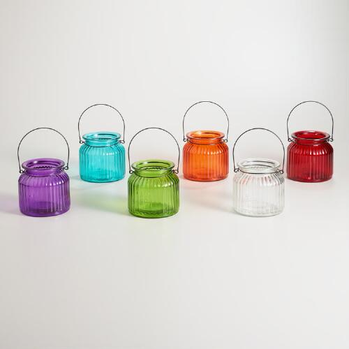 Hanging Glass Tealight Jars, Set of 6