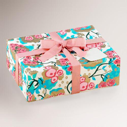 Pink/Turquoise Fabric Gift Box