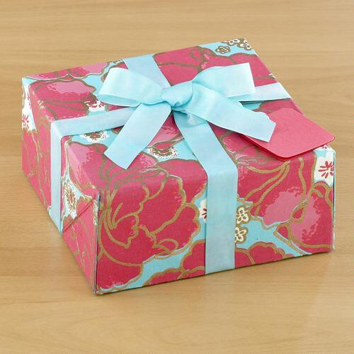 Large Pink Poppy Fabric Gift Box