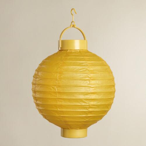 Yellow Battery-Operated Paper Lanterns, Set of 4