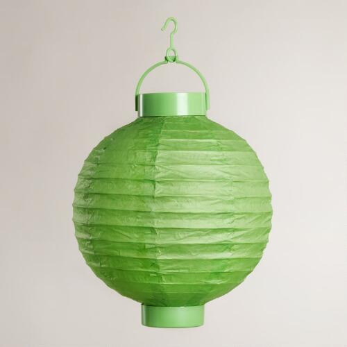 Green Battery Operated Paper Lanterns, Set of 4