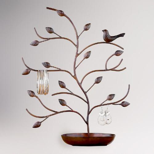 Bronze Bird and Tree Jewelry Stand