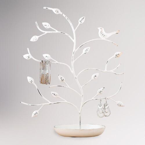 White Bird and Tree Jewelry Stand