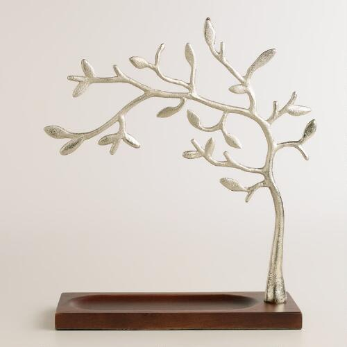 Wood Base Tree Jewelry Stand