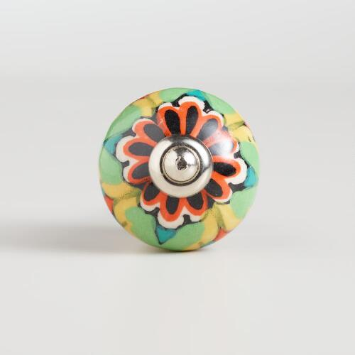 Multicolored Floral Ceramic Knobs, Set of 2