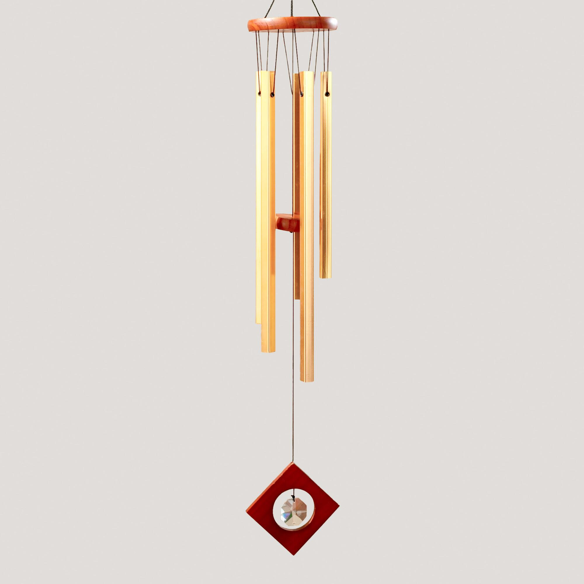 Square Copper Tubes Wind Chime With Crystal World Market