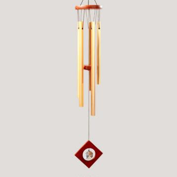 Square Copper Tubes Wind Chime with Crystal