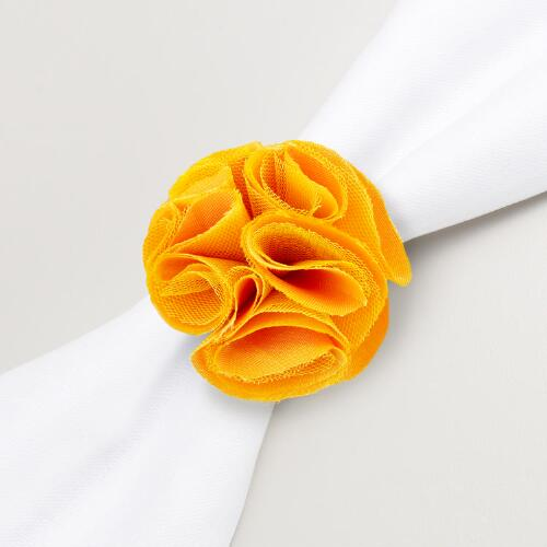 Yellow Flower Napkin Ring, Set of 4