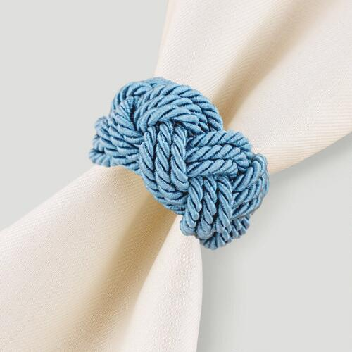 Braided Cord Napkin Ring, Blue, Set of 4