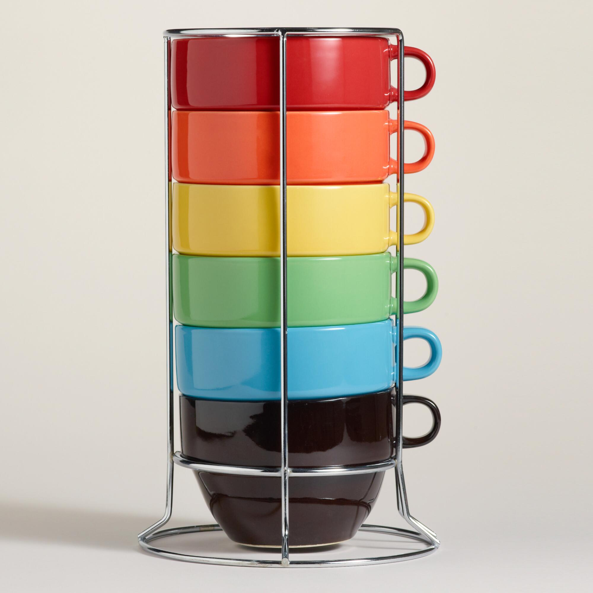 Multi-Color Jumbo Stacking Mugs Set of 6 - Wo ...