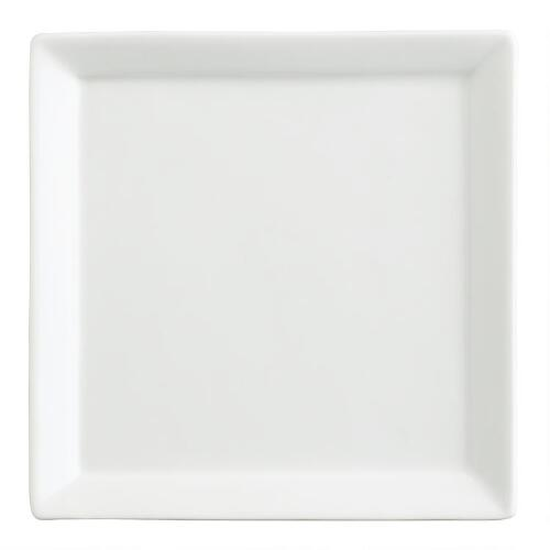 White Porcelain Square Tasting Plates, Set of 6