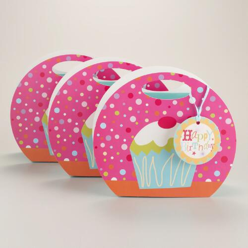 Round Birthday Cupcake Totes, Set of 3