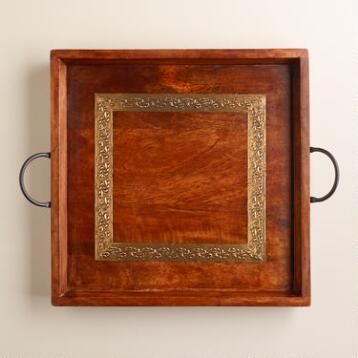 Wood and Embossed Square Metal Tray