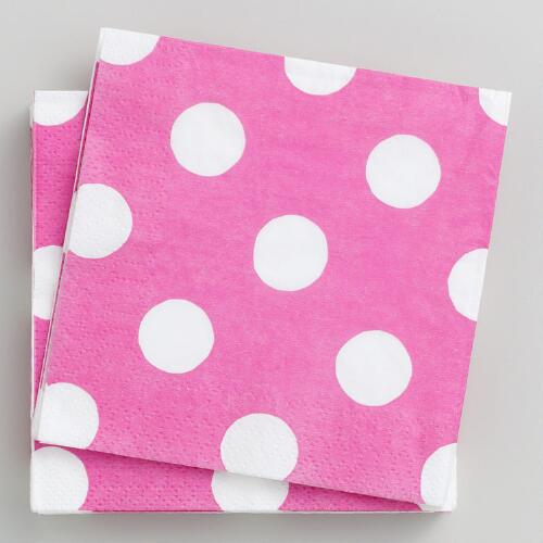 16-ct. Pink Dot Beverage Napkins, Set of 2