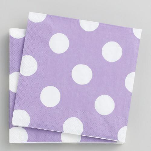 16-ct. Lavender Dot Beverage Napkins, Set of 2