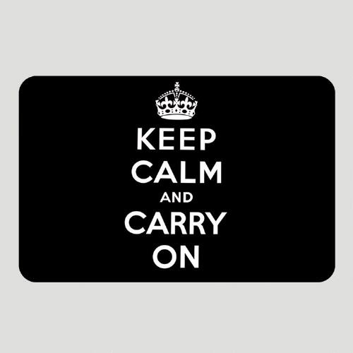 Black Keep Calm and Carry On Cushioned Floor Mat