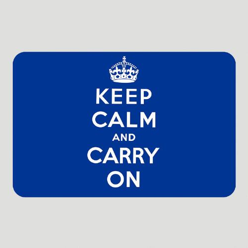 Blue Keep Calm and Carry On Cushioned Floor Mat