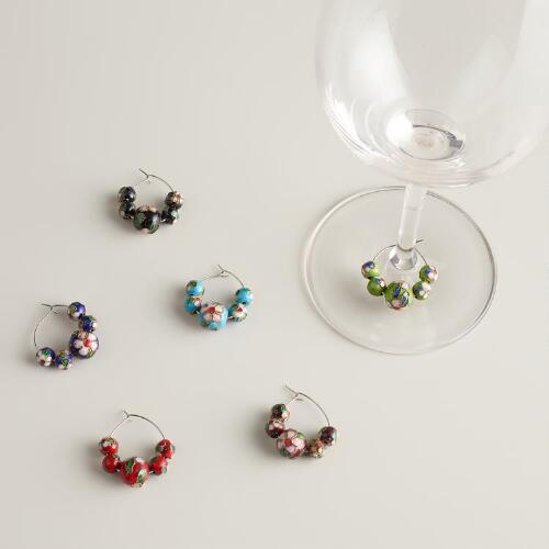 Cloisonne Wine Charms, Set of 6
