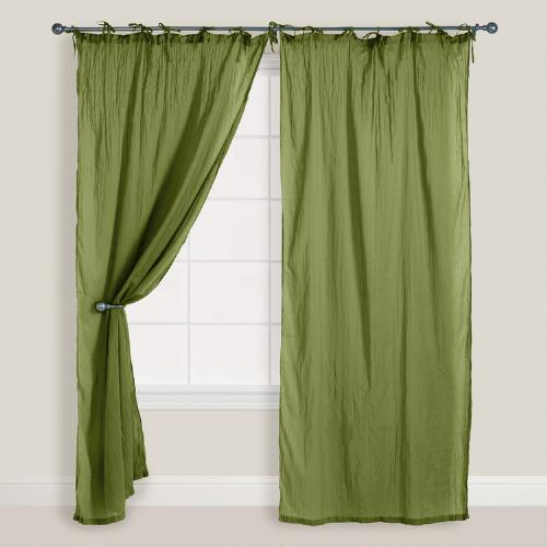 Olive Crinkle Voile Curtain