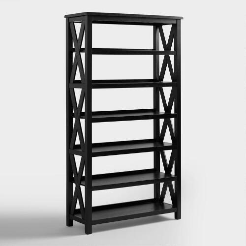 Antique Black Verona Six-Shelf Bookcase
