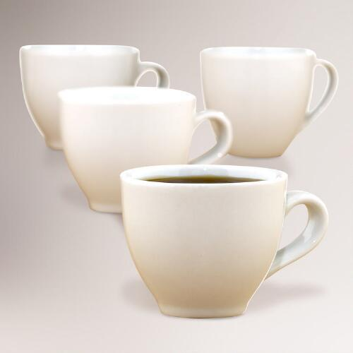 White Porcelain Espresso Cups, Set of 4