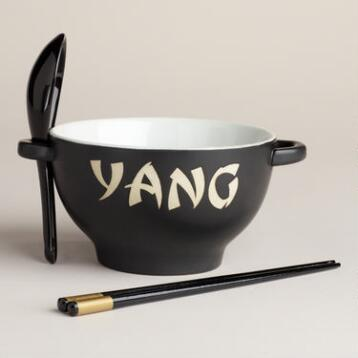 Black & White Yin Yang Bowl Sets, Set of 2