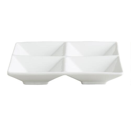 White Porcelain 4-Section Tasting Trays, Set of 2